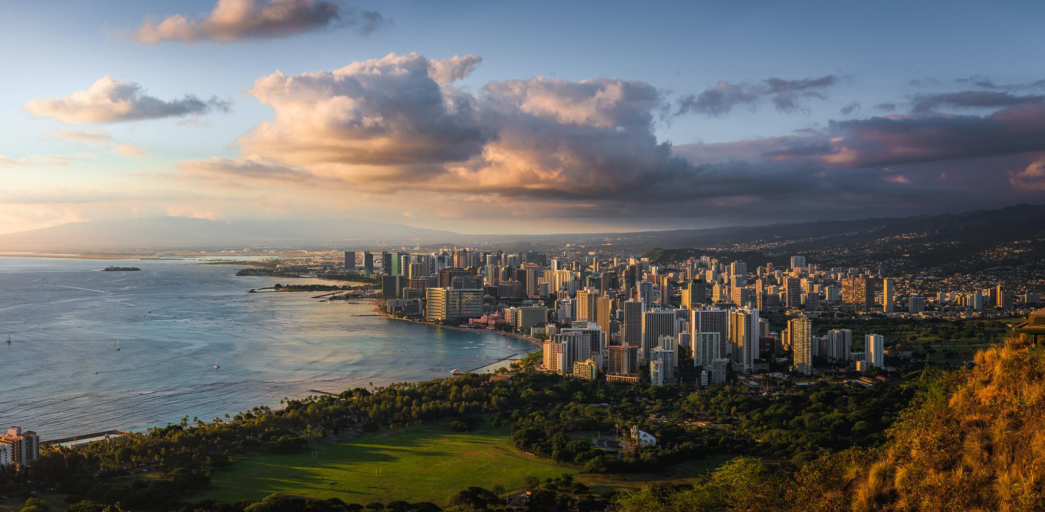 Coucher de soleil sur Honolulu